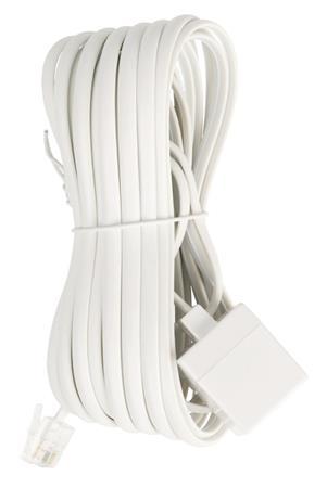 Valueline VLTP90205W50 - Telefonní Prodlužovací Kabel RJ11 (6P4C) zásuvka - RJ11 (6P4C) zástrčka Plochý 5.00 m Bílá