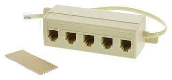 Valueline VLTP90825I02 - Telefonní Kabel RJ11 (6P4C) zástrčka - 5x RJ11 (4/6) zásuvka 0.20 m Slonová Kost