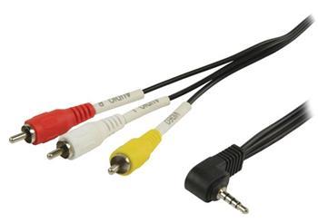 Valueline VLVP22400B20 - Komponentní Video Kabel 3.5mm zástrčka - 3x CINCH zástrčka 2.00 m, černá