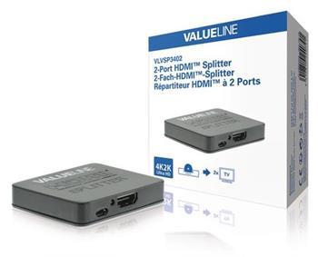 Valueline VLVSP3402 - HDMI Rozbočovač HDMI Vstup - 2x HDMI Output, černá