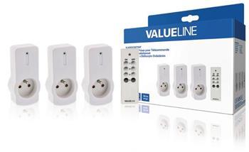 Valueline VLWSOCKET03F - Bezdrátový Přepínač vnitřní 3 x CZ Bílá
