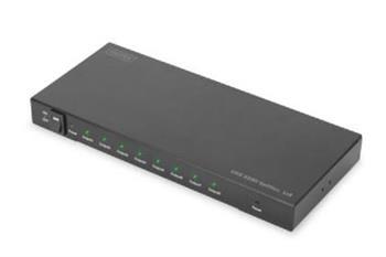 Digitus 4K HDMI 2.0 rozbočovač, 1x8, UHD 4K2K / 60Hz, 3D Full High Speed HDMI, kovový kryt, černá