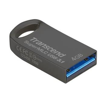 Transcend 4GB JetFlash 740, USB 3.0 průmyslový flash disk (SuperMLC) malé rozměry, šedý kov, 120MB/s R, 90MB/s W
