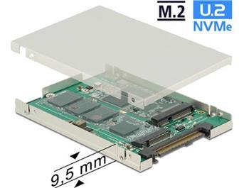 """Delock 2.5"""" Converter SATA Express / U.2 > 1 x M.2 / 1 x mSATA with Enclosure 9.5 mm"""
