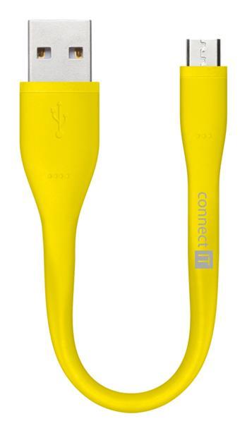 CONNECT IT Wirez Micro USB - USB pro power banky, žlutý, 13 cm