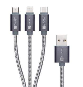 CONNECT IT Wirez 3in1 USB-C & Micro USB & Lightning, silver gray, 1,2 m