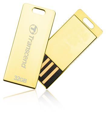 Transcend 32GB JetFlash T3G, USB 2.0 flash disk, malé rozměry, zlatě obarvený kov