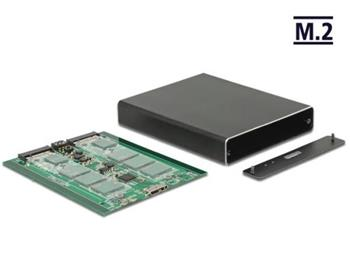 Delock Externí pouzdro 2 x M.2 Key B > SuperSpeed USB 10 Gbps (USB 3.1 Gen 2) s RAID