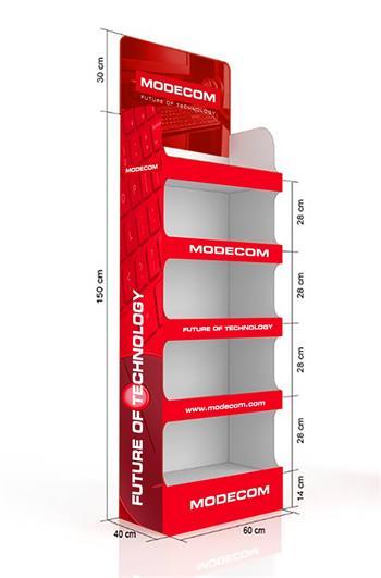 Modecom papírový reklamní stojan s potiskem, červený