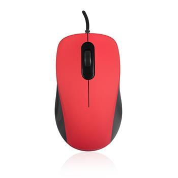 Modecom MC-M10 drátová optická myš, 3 tlačítka, 1000 DPI, USB, černo-červená