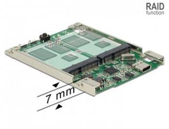 """Delock 2.5"""" Převodník USB 3.1 Gen 2 USB Type-C™ samice > 2 x mSATA s RAID 7 mm"""