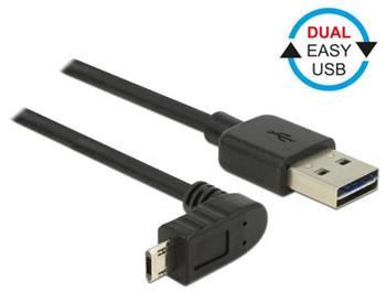 Delock Kabel EASY-USB 2.0 Typ-A samec > EASY-USB 2.0 Typ Micro-B samec pravoúhlý nahoru / dolů 2 m černý