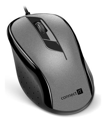 CONNECT IT Optická myš, ergonomická, USB, šedá
