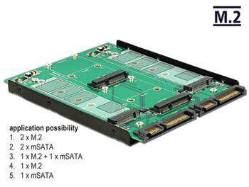 """Delock 3.5"""" Konvertor 2 x SATA 22 pin > Dualport 2 x M.2 / 2 x mSATA"""