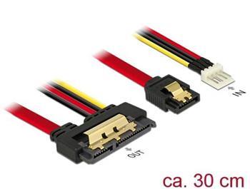 Delock Kabel SATA 6 Gb/s 7 pin samice + Floppy 4 pin napájení samec > SATA 22 pin samice přímý kovový 30 cm