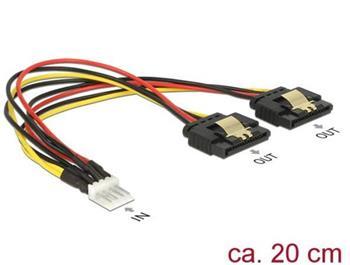 Delock Kabel Power Floppy 4 pin samec > 2 x SATA 15 pin samice kovový 20 cm