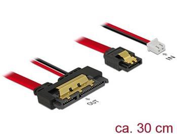 Delock Kabel SATA 6 Gb/s 7 pin samice + 2 pin napájecí samice > SATA 22 pin samice přímý (5 V) kovový 30 cm