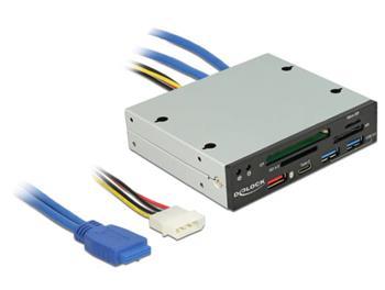 "Delock 3.5"" USB 3.0 Card Reader 4 slot + 1 x USB-C™ female + 3 x USB 3.0-A female"