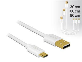 Delock Datový a rychlonabíjecí kabel USB 2.0 Typ-A samec > USB 2.0 Typ Micro-B samec sada 3 kusů bílý