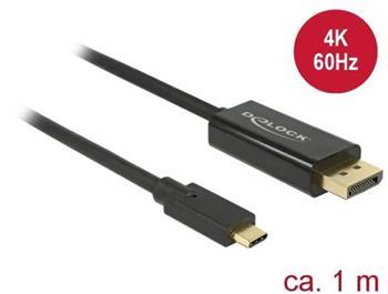 Delock Cable USB Type-C™ male > Displayport male (DP Alt Mode) 4K 60 Hz 1 m black