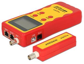 Delock LCD kabelový testr RJ45 / RJ12 / BNC / USB