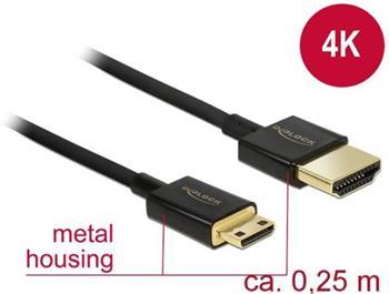 Delock Kabel High Speed HDMI s Ethernetem - HDMI-A samec > HDMI Mini-C samec 3D 4K 0,25 m Slim High Quality