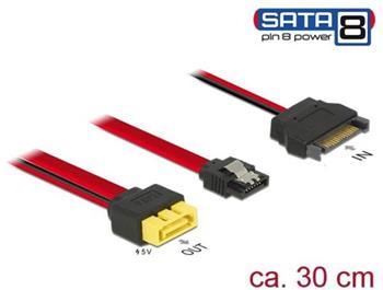 Delock Kabel SATA 6 Gb/s 7 pin samice + SATA 15 pin napájení samec > SATA samec s pin 8 napájení latchtype 30 cm