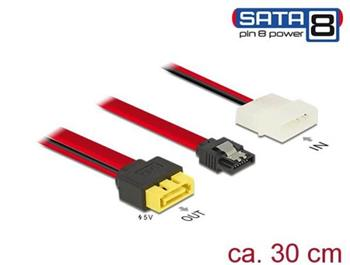 Delock Kabel SATA 6 Gb/s 7 pin samice + Molex 2 pin napájení samec > SATA samec s pin 8 napájení latchtype 30 cm