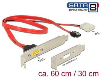 Delock Záslepka SATA 6 Gb/s 7 pin samice + Molex 2 pin napájení samec interní > SATA samec s pin 8 napájení externí