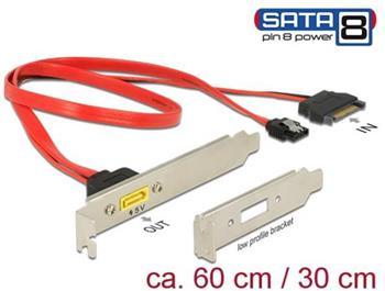 Delock Záslepka SATA 6 Gb/s 7 pin samice + SATA 15 pin napájení samec interní > SATA samec s pin 8 napájení externí