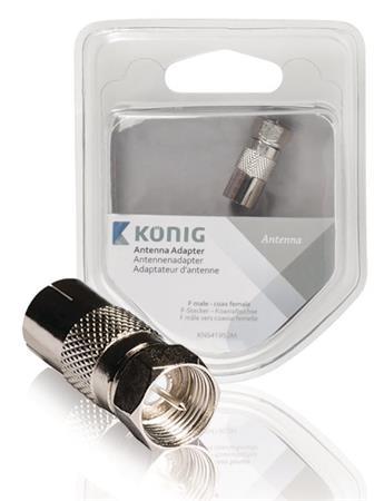 König KNS41952M - Koaxiální adaptér F samec - Koax samice, kov