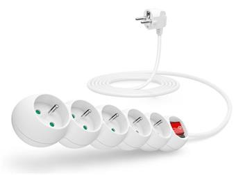 CONNECT IT prodlužovací kabel 230 V, 5 zásuvek, 3 m, s vypínačem (bílý)