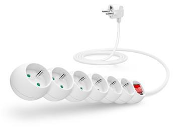 CONNECT IT prodlužovací kabel 230 V, 6 zásuvek, 2 m, s vypínačem (bílý)