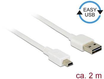 Delock Kabel EASY-USB 2.0 Typ-A samec > USB 2.0 Typ Mini-B samec 2 m bílá