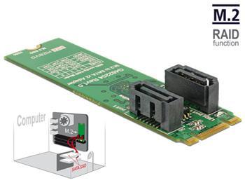 Delock Převodník M.2 Key B+M samec > 2 x SATA 7 pin samec s RAID