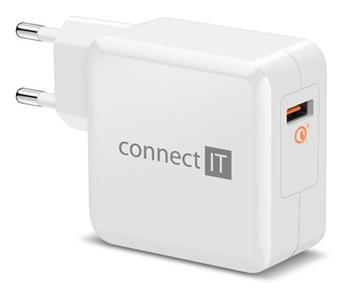 CONNECT IT QUICK CHARGE 3.0 nabíjecí adaptér 1x USB (3A), QC 3.0, bílý