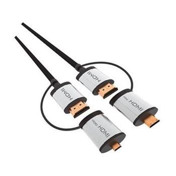 OMEGA kabel HDMI v1.4 černý 1,5m + adapter na miniHDMI a microHDMI