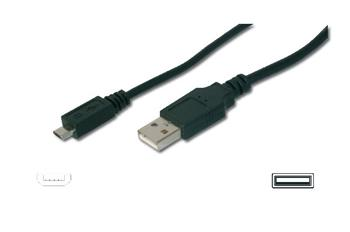 Ednet USB connection cable, type A - micro B M/M, 1.8m, USB 2.0, bl