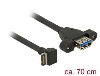 Delock Kabel USB 3.1 Gen 2 key A 20 pin samec > USB 3.1 Gen 2 Typ-A samice montáž na panel 70 cm
