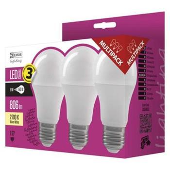 Emos AKCE 3x LED žárovka A60, 9W/60W E27, WW teplá bílá, 806 lm, Classic A+