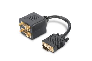 Digitus VGA Monitor Y-splitter cable, HD15 - 2xHD15 M/F, 0.2m, passiv, gold, bl