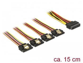 Delock Kabel SATA 15 pin napájecí samec s aretací > SATA 15 pin napájecí samice 4 x přímý 15 cm