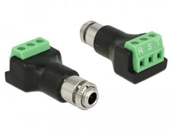 Delock Svorkovnice 3 pin > stereo jack samice 3,5 mm pro instalaci