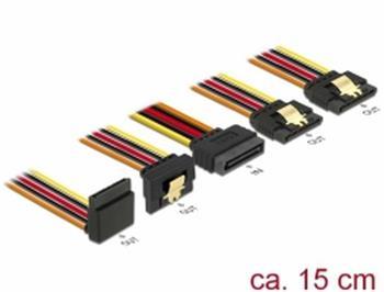 Delock Kabel SATA 15 pin napájecí samec s aretací > SATA 15 pin napájecí samice 2 x přímý / 1 x dolů / 1 x nahoru 15 cm