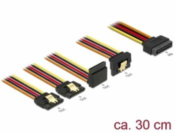 Delock Kabel SATA 15 pin napájecí samec s aretací > SATA 15 pin napájecí samice 2 x přímý / 1 x dolů / 1 x nahoru 30 cm