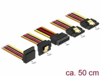 Delock Kabel SATA 15 pin napájecí samec s aretací > SATA 15 pin napájecí samice 2 x přímý / 1 x dolů / 1 x nahoru 50 cm
