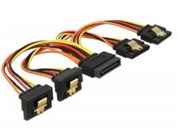 Delock Kabel SATA 15 pin napájecí samec s aretací > SATA 15 pin napájecí samice 2 x přímý / 2 x dolů 15 cm