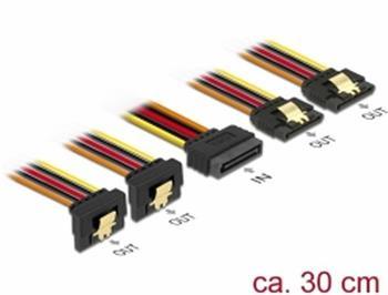 Delock Kabel SATA 15 pin napájecí samec s aretací > SATA 15 pin napájecí samice 2 x přímý / 2 x dolů 30 cm