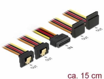 Delock Kabel SATA 15 pin napájecí samec s aretací > SATA 15 pin napájecí samice 2 x dolů / 2 x nahoru 15 cm