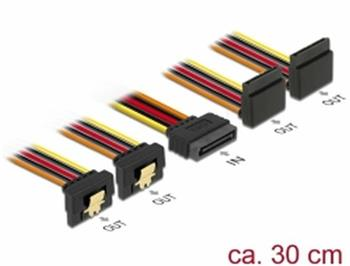 Delock Kabel SATA 15 pin napájecí samec s aretací > SATA 15 pin napájecí samice 2 x dolů / 2 x nahoru 30 cm